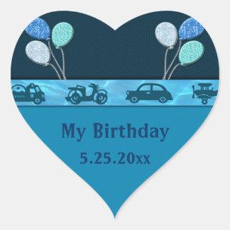 Total Birthday Boy In Blue Date Saver Heart Sticker