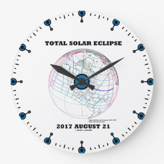 Total Solar Eclipse 2017 August 21 North America Large Clock