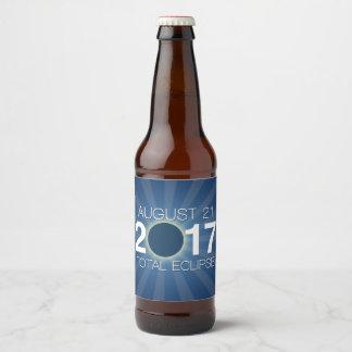 Total Solar Eclipse 2017 - Blue Design Beer Bottle Label