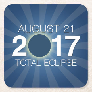Total Solar Eclipse 2017 - Blue Design Square Paper Coaster