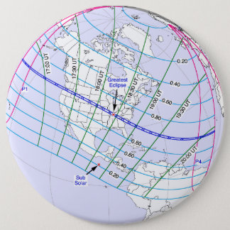 Total Solar Eclipse 2017 Global Path 6 Cm Round Badge