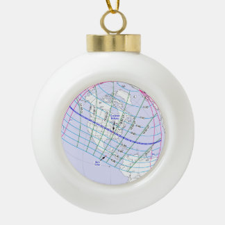 Total Solar Eclipse 2017 Global Path Ceramic Ball Christmas Ornament