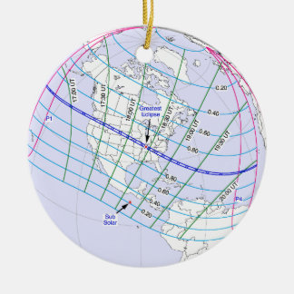 Total Solar Eclipse 2017 Global Path Ceramic Ornament