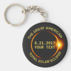 Total Solar Eclipse 8.21.2017 USA Custom Text Key Ring
