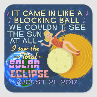 Total Solar Eclipse August 21 2017 American Funny Square Sticker