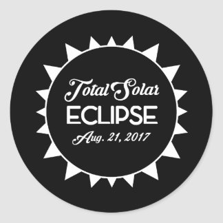 Total Solar Eclipse August 21 2017 Black and White Classic Round Sticker