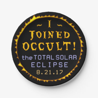 Total Solar Eclipse August 21 2017 Funny Occult Paper Plate