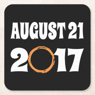 Total Solar Eclipse August 21 2017 Square Paper Coaster