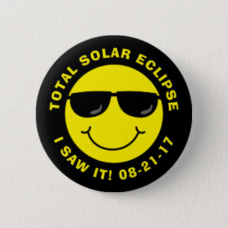 Total Solar Eclipse Cool Smiley Face 6 Cm Round Badge