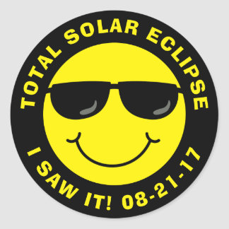 Total Solar Eclipse Cool Smiley Face Classic Round Sticker