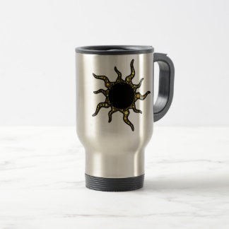 TOTAL SOLAR ECLIPSE.  CUTE SUN WITH LONG ARMS TRAVEL MUG