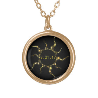TOTAL SOLAR ECLIPSE GOLD PLATED NECKLACE