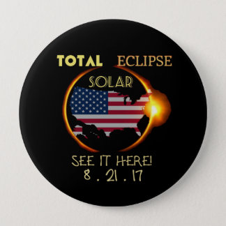 Total Solar Eclipse Party Button  Aug 21st. USA