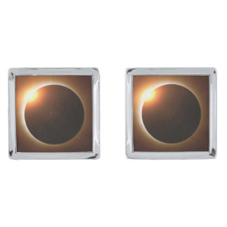 Total Solar Eclipse Silver Finish Cufflinks