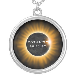 Totality Solar Eclipse 2017 Silver Plated Necklace