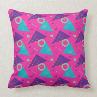Totally 80's Hot Pink Triangles Geometric Cushion