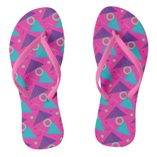 Totally 80's Hot Pink Triangles Geometric Thongs