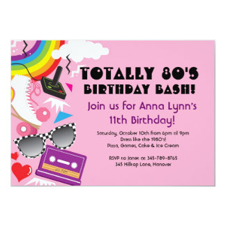 Totally 80's theme party birthday invitations