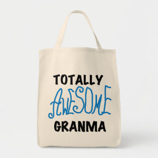 Totally Awesome Granma Blue Tshirts Gifts Grocery Tote Bag