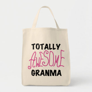 Totally Awesome Granma Pink Tshirts and Gifts Grocery Tote Bag