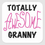 Totally Awesome Granny Pink Tshirts and GIfts Square Stickers
