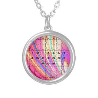 Totally Awesome Mum  Pink Swirl Puzzle Design Silver Plated Necklace