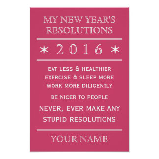 Totally customizable New Year's Resolution poster