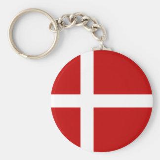 Totally Denmark Flag Basic Round Button Key Ring
