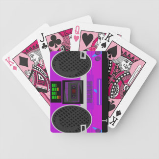 Totally Eighties Purple Boombox Illustration Bicycle Playing Cards