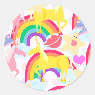 Totally Eighties Unicorn Rainbow Explosion Round Sticker