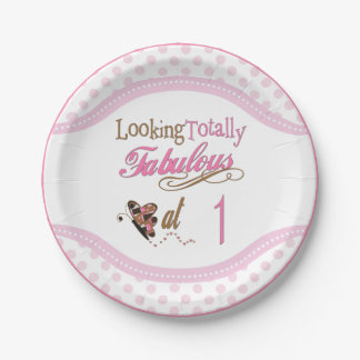 Totally Fabulous 1st Birthday Paper Plate