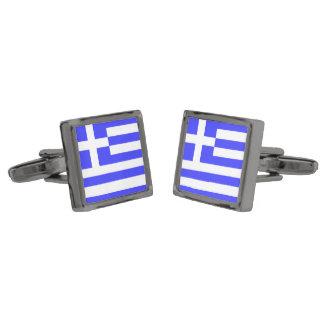 Totally Flag of Greece Gunmetal Finish Cuff Links