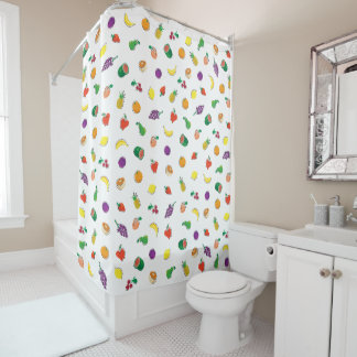 Totally Fruity Repeating Pattern Country Fun Shower Curtain