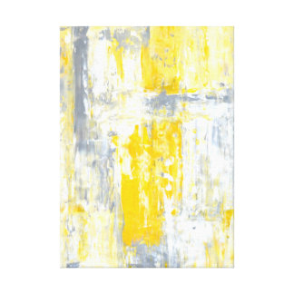 'Totally Unique' Grey and Yellow Abstract Art Canvas Print