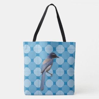 Tote Bag (ao) - Bird  on Mosaic Background