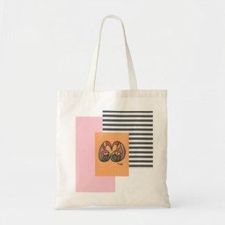 Tote Bag Bargain-White Pink Orange and Black