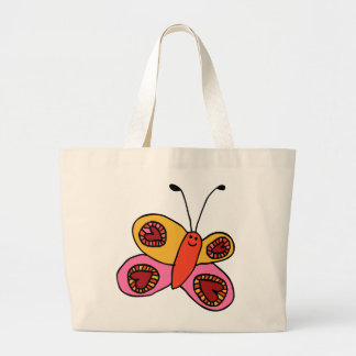 Tote Bag, Cute Butterfly Doodle Jumbo Tote Bag