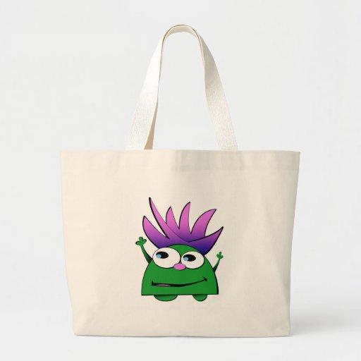 Tote Bag, Cute Little Green Monster Cartoon