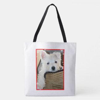 Tote Bag-Cute Westie Puppy in the snow