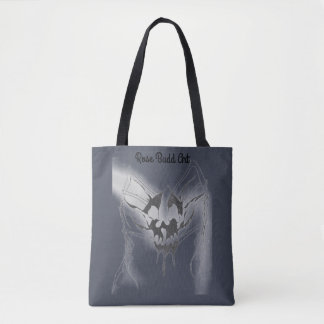 tote bag dark blue with skull spider