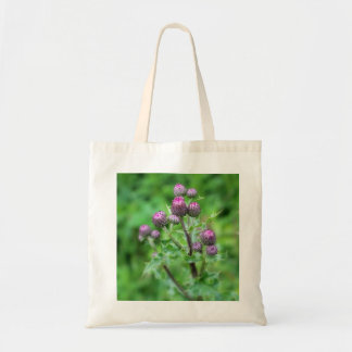 Tote bag featuring thistle photo.