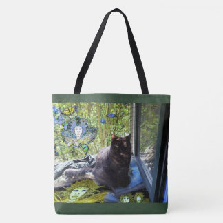 Tote Bag Green Borders: Cat at Window with Fairies