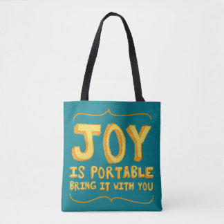 Tote Bag: Joy is portable Turquoise & Yellow