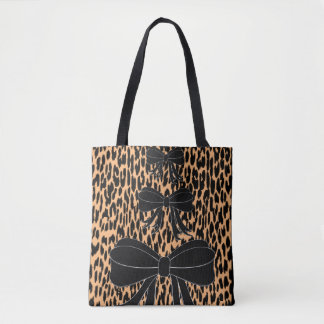 tote bag leopard bows
