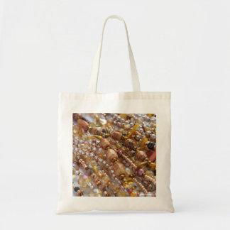 Tote, bag- Natural Earthtones, Amber & Bronze Bead Tote Bag