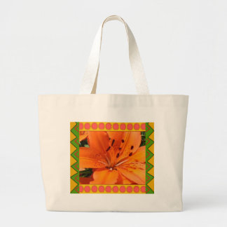 Tote Bag :: Orange Lily with artistic border