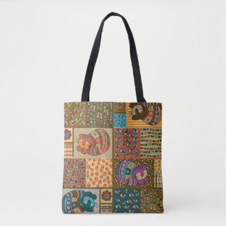 Tote Bag - Patch Work Cat Pattern