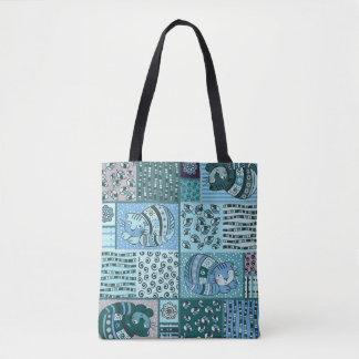 Tote Bag - Patch Work Cat Pattern (Blue)