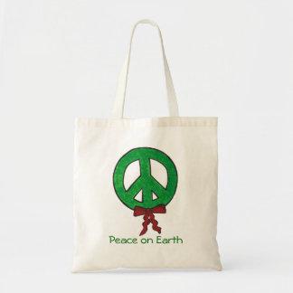 Tote Bag-Peace Sign Wreath Budget Tote Bag