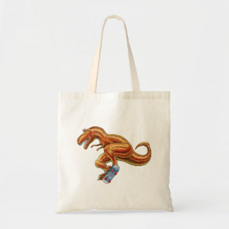 Tote Bag T-rex on Skateboard Cartoon Dinosaur